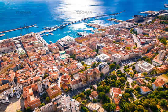 Rijeka city center and waterfront aerial view