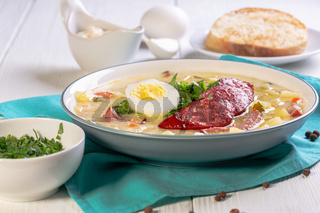 Traditional Polish white borscht.
