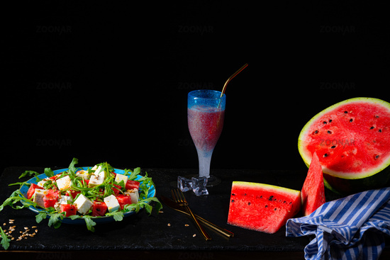 Watermelon Salad with Rocket And Feta Cheese