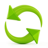 Recycle symbols with turning arrows. 3D illustration