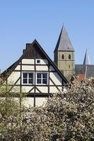 Old town with St. Pauli church, Soest, North Rhine-Westphalia, Germany, Europe