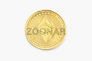 Ethereum coin cryptocurrency isolated on white background