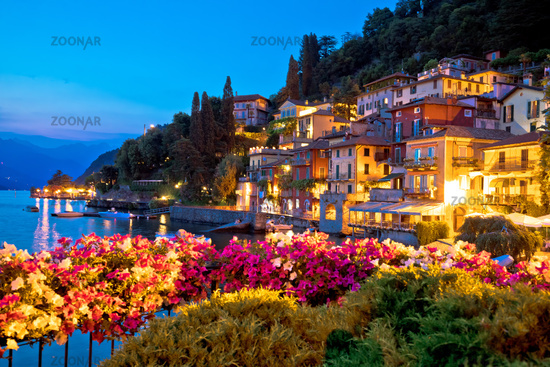 Colorful Varenna lakefront architecture evening view, Como lake