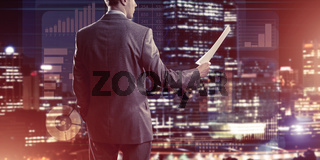 Digital background with infographs and man extending papers or contract