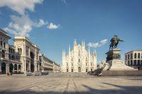 Milan cathedral Duomo and Vittorio Emanuele statue in Square Piazza Duomo