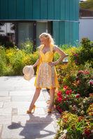 Blonde woman in designer dirndl