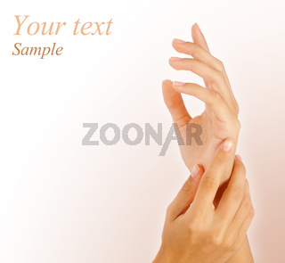Beautiful female hands with copy-space