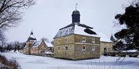Water castle Westerwinkel in winter, Ascheberg, Muensterland, Germany, Europe