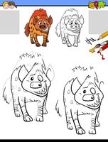 drawing and coloring task with hyena animal character