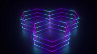 3d rendering of geometric glowing background. Computer generated neon hexagonal