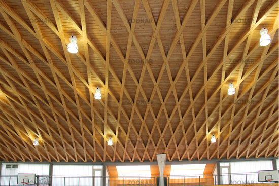 wooden ceiling of sport hall