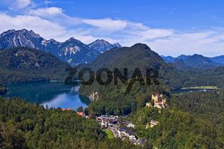 Blick auf Hohenschwangau und den Alpsee