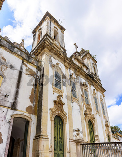 Old and historic church facade located in Salvador, Bahia