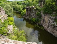 Buky Canyon summer landscape, Hirskyi Tikych river, Cherkasy Region, Ukraine. People unrecognizable.