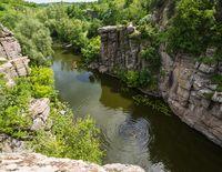 Buky Canyon summer landscape, Hirskyi Tikych river, Cherkasy Region, Ukraine. People unrecognizable.