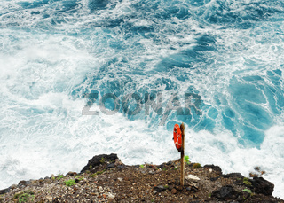Lifebuoy in front of wild surf