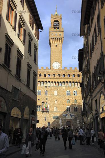 Palazzo Vecchio von der Via Vacchereccia aus gesehen