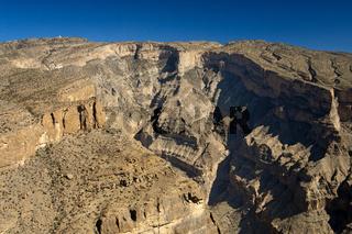 Blick von der Aussichtsplattform am Jebel Shams in den Grand Canyon von Oman