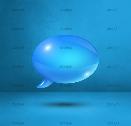 Blue speech bubble on cyan square background