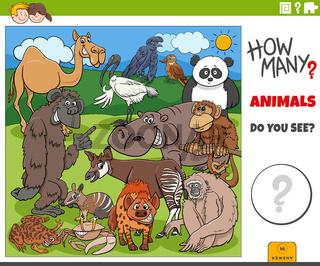 how many cartoon animals educational task for children