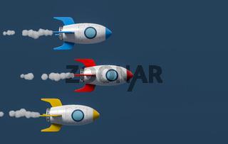 Cartoon Spaceships Racing on Blue Background