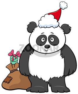 cartoon panda animal character with gift on Christmas time