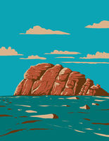 Haytor Rocks Located on Dartmoor National Park Devon England United Kingdom UK Art Deco WPA Poster Art