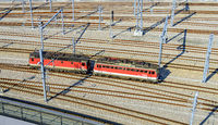 modern track system with two electric locomotives