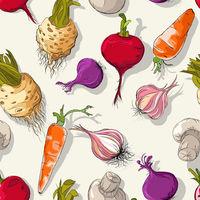 Vegetables sketch pattern