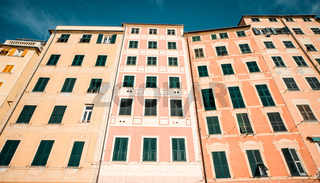 Typical houses in Italian village. Camogli, Genoa.