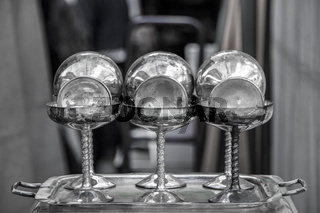 Silver elegant cups with dish