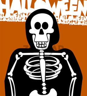 Halloween Skeleton Background. Greeting Card