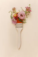 Paintbrush with organic fresh flowers