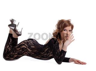 Sexy woman posing in black body shirt