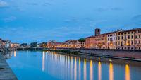 Arno river in Pisa at dusk