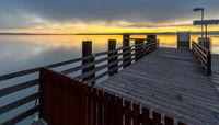 Sunrise in Bernried, Lake Starnberger See, Bavaria, Germany,