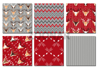 Collection of festive Christmas patterns. Vector illustration