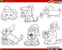 set of comic dogs with Christmas gifts coloring book page