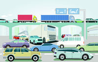 Traffic jam at the road intersection illustration