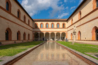Awesome inner courtyard of the Sforzesco castle