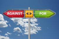 Against For Plan A B concept road sign arrow illustration