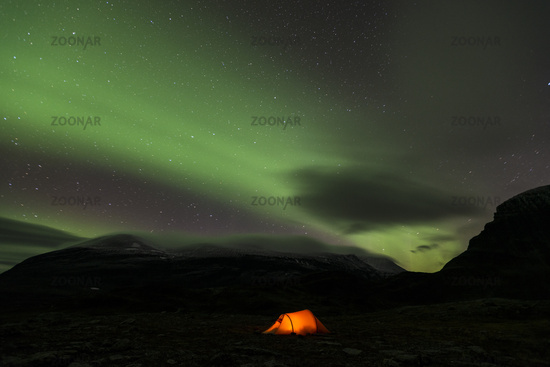 tent with northern lights , Lapland, Sweden
