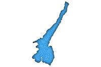 Karte Gardasee auf blauem Filz - Map Lake Garda on blue felt