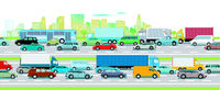 Road traffic on the highway in front of a big city illustration