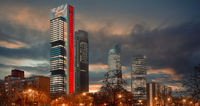 Four Towers Business Area night city view. Madrid. Spain