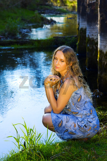 Beautiful woman relaxing on nature