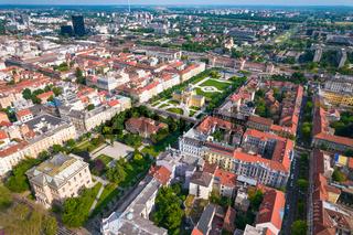 Lenuci Horseshoe. Green zone of Zagreb historic city center aerial view