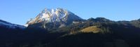 Mount Fluebrig in early morning. View from Innerthal, Schwyz Canton.