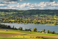 View of Oehningen and the Hoeri peninsula, Lake Constance, Baden-Wuerttemberg, Germany