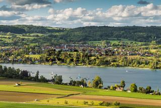 Blick auf den Ort Öhningen und die Halbinsel Höri, Bodensee, Baden-Württemberg, Deutschland